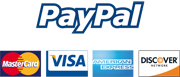 Paypal Secured, Mastercard, Visa, Discover, Amex